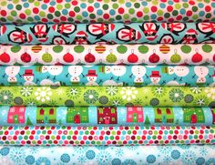 8 Fat Quarters Ann Kelle Jingle Christmas O' Tinsel Tree 2 Holiday Fabric. $22.75, via Etsy.