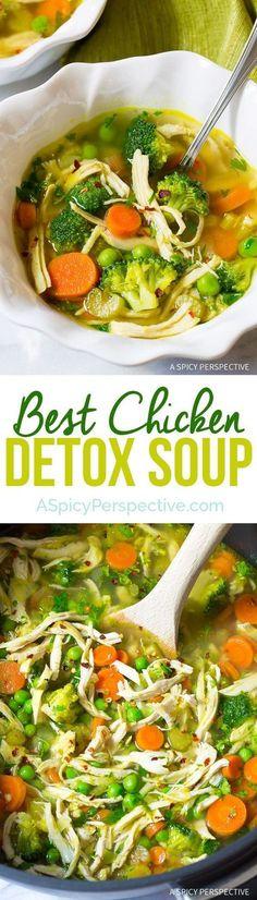 Best Ever Chicken Detox Soup Recipe & Cleanse | http://ASpicyPerspective.com (Paleo, Gluten Free, Dairy Free)