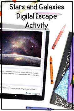 Stars   Galaxy   Review stars systems clusters and galaxies with your grade 5 6 7 students using this digital escape room activity. Students work collaboratively to answer questions about the characteristics life cycle of a star and different types of galaxy spiral elliptical and irregular. Also reviews open cluster binary stars high and low mass stars and apparent and absolute brightness. Upper Elementary Resources, Elementary Science, Science Classroom, Middle School Hacks, Middle School Science, School Tips, Earth Science Activities, Science Resources, Earth Space