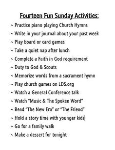 Fourteen Fun Sunday Activities for LDS families Sabbath Activities, Sunday Activities, Church Activities, Activity Day Girls, Activity Days, Sabbath Day Holy, Church Games, Fhe Lessons, Lds Church