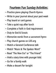 Fourteen Fun Sunday Activities for LDS families