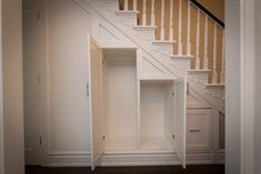 over the stairs closet   Toronto Cabbagetown Hallway Under Stairs Custom Closet contemporary Closet Storage, Understairs Closet, Basement Storage, Bathroom Storage, Under Basement Stairs, Cabinet Under Stairs, Closet Under Stairs, Basement Steps, Space Under Stairs