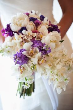 Stunning, White and Lavender Wedding Bouquet