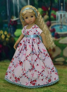 """SOLD - """"Roses & Sparrows"""" Regency Dress, Outfit for 13"""" Dianna Effner Little Darling #LuminariaDesigns"""