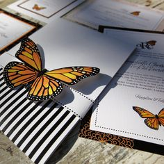 Monarch Butterfly Wedding Invitation suite.