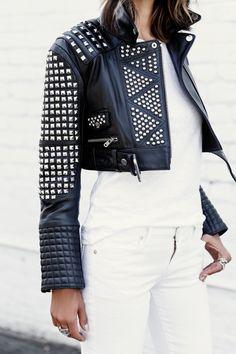 VivaLuxury - Fashion Blog by Annabelle Fleur: STARK - THE KOOPLES Studded leather jacket | RAG & BONE/JEAN classic tee | CITIZENS OF HUMANITY Avedon ankle skinny jeans | CARVELA Gosh black strap heeled sandals via ASOS | ILLESTEVA Hamilton sunglasses | DYLANLEX bracelet & rings June 18, 2015