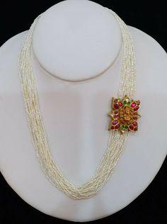 India Jewelry, Bead Jewellery, Pendant Jewelry, Beaded Jewelry, Jewelery, Latest Jewellery, Pendant Set, Gold Jewelry, Indian Wedding Jewelry