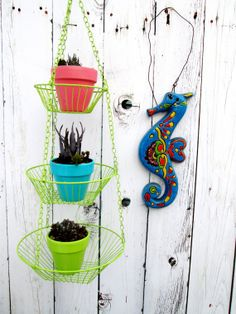 Vintage 3Tier Lime Green Metal Hanging Baskets by ElectricMarigold, $32.00