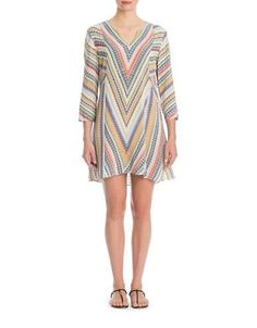 Nic+Zoe Plus Three-Quarter Sleeve Chevron Tunic Women's Multi-Coloured