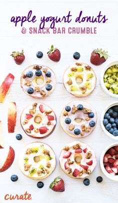 """Start planning for back-to-school season with creative and healthy after-school snack ideas. These Apple Yogurt """"Donuts"""" are a great way to sneak in some fruit at snacktime and are so fun to eat! For extra crunch, top the donuts with crushed up Curate kids' snack bars. Your little ones will love the kid-friendly flavors like Apples and Cinnamon or Chocolate and Banana."""