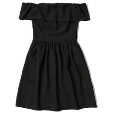 Abercrombie & Fitch Off the Shoulder Skater Dress ($44) ❤ liked on Polyvore featuring dresses, black, smock dress, kohl dresses, black dress, black skater dress and smocked dresses
