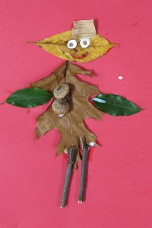 Make leaf people- fun fall art for kids! It would be best to do the project outside!: