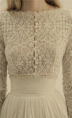 Lace old fashioned wedding dress