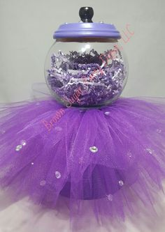 Tutu Gumball Machine by BrownSugarPartyDepot on Etsy Clay Pot Crafts, Miniature Crafts, Easter Bunny Decorations, Xmas Decorations, Raffle Baskets, Candy Baskets, Party Favors, Glass Fish Bowl, Birthday Care Packages