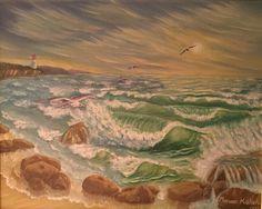 (c) Sand and Foam 1995 by Marwan Kishek - Oil on canvas Seascape Paintings, Oil On Canvas, Ocean, Clouds, Sky, Artist, Heaven, Heavens, Sea
