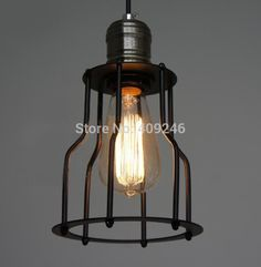 LOFT SINGLE Cage Droplight  Wrought Iron Edison Vintage Ceiling Pendant Lamp For Cafe Bar Coffee Shop Hall Bedside
