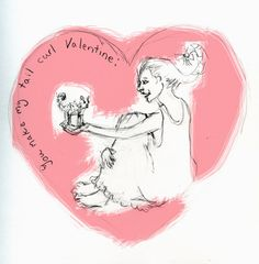 You Make my Tail Curl Valentine pencil on paper inked in computer 2012  Brenna George