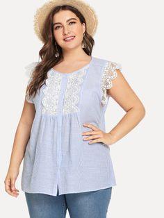 Plus Floral Lace Applique Striped Blouse Native Brand, Resort Dresses, Plus Size Kleidung, Blouse Dress, Boutique, Lace Applique, Ladies Dress Design, Plus Size Women, Floral Lace