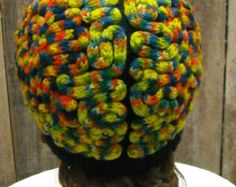 Brain Hat Multi-colored, costume, warm wool funky cap knitted hand-dyed yarn - Edit Listing - Etsy