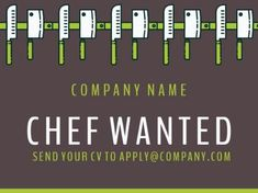 A creative Job Vacancy template with a dark brown background, white text, and illustrations of green knifes. Creative Jobs, Knifes, Company Names, Dark Brown, Bar Chart, Positivity, Illustrations, Templates, Green