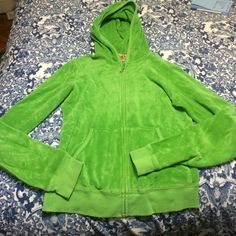 Juicy couture hooded terry cloth jacket Juicy couture hooded terry cloth jacket- size medium- great condition- kind vintage Juicy Couture Jackets & Coats