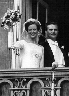 Prince Henrik and Queen Margrethe II of Denmark on their wedding day
