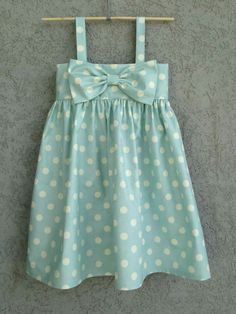 Light Blue Polka Dot baby/toddler Dress Easter by dreamcatcherbaby{The Ardent Sparrow}: Weekend Project {Big Sister Kits}Love these big bow dresses on etsy by dreamcatcherbaby!{The Ardent Sparrow}: Weekend, Don't forget to add enough to allow it to b Little Dresses, Little Girl Dresses, Girls Dresses, Bow Dresses, Sewing For Kids, Baby Sewing, Little Girl Fashion, Kids Fashion, My Baby Girl
