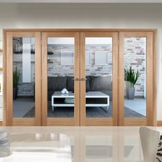 Easi-frame oak door and frame room dividers offer wonderful value and style for this largest of our door sets. Wooden Window Design, Wooden Windows, Door Design, Oak Door Frames, Oak Doors, Glass Room Divider, Room Divider Doors, Door Dividers, Double Sliding Doors