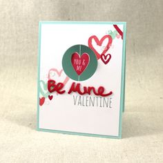 Make It Monday #273: Spinner Cards - Be Mine Valentine Card by Lizzie Jones for Papertrey Ink (January 2017)