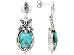 Tillya Treasures(Tm) 9.00ctw Cabochon Arizona Turquoise With Marcasite Sterling Earrings Erv $116.00