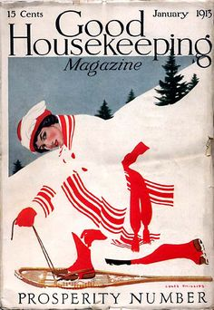 Good Housekeeping 1913-01Woman dressed in white with red trim fades away against the background as she snowshoes across a snow-cover mountain. Coles Phillips artist