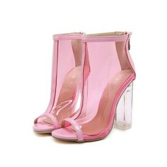 Canvas Hasp Straps Stiletto Heel Peep-toe Ankle Boot High Heel Sandals from Eoooh❣❣ - New Ideas Chunky High Heels, Pink High Heels, High Heel Boots, Heeled Boots, Shoe Boots, Peep Toe Shoes, Ankle Booties, Leather Booties, Designer Shoes