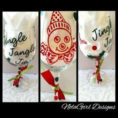 vinyl new orleans themed wine glass bingle by nolagirldesign