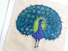 Peacock greeting card, personalised machine embroidered stitched fabric applique. British bird wildlife nature mothers day birthday unframed