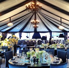 Town and Country tent and black and white decor