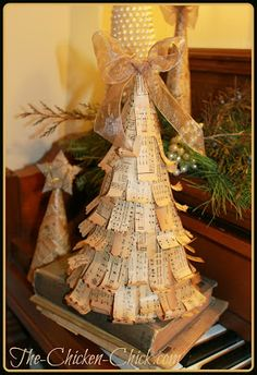 DIY Vintage Christmas Trees- made from cereal boxes and old books, super easy and free!