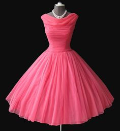 1950's pink chiffon prom dress and pearls #pink #dress #pearls