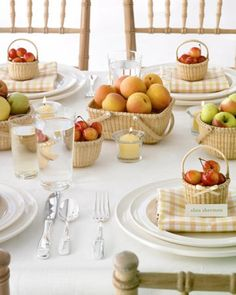 Having small individual baskets with a few snacks or fruit for each guest adds a personal touch to any event. These baskets add a very homey feel to the table.