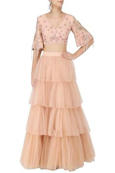 298ead040a615b Salmon Pink Floral Embroidered Crop Top and 4 Tier Skirt