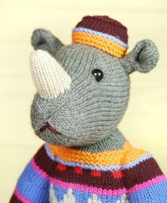 Marvin the Rhino - download the knitting pattern from LoveKnitting!