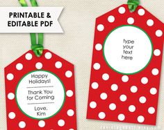 Blank Christmas Tags Editable Christmas Gift Tag Template