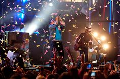 Coldplay performs at a free, outdoor concert at the MuchMusic headquarters on Queen Street in downtown Toronto.