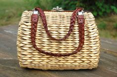 Vintage Woven Wicker Leather Handled Bag by C3L35T3 on Etsy