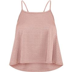 Billie Blush Textured Shimmer Cami Top ❤ liked on Polyvore featuring tops, pink cami top, camisole tank, cami tank, cami top and pink tank
