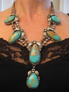 want: Vintage Old Pawn NAVAJO Pilot Mountain Turquoise Squash Blossom Necklace by catherine