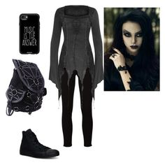 """""""casual gothic"""" by hippyrain ❤ liked on Polyvore featuring Frame, Casetify and Converse"""