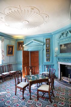The West Parlor at Washington's Mount Vernon was first painted an eye-popping Prussian blue in 1787.