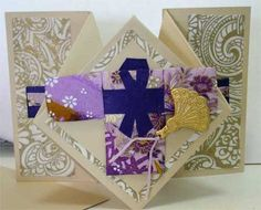 Diamond fold card with Japanese theme. Kimono made with Washi paper quilting.
