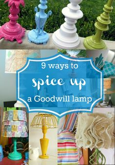 9 Ways to Spice Up a Goodwill Lamp - DIY tutorial / upcycling Lamp Makeover, Furniture Makeover, Diy Furniture, Furniture Refinishing, Refurbished Furniture, Home Projects, Craft Projects, Diy Spring, Ideias Diy