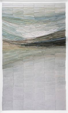 """""""Green Barbardos"""" by Jeanne Opgenhaffen, an artist who creates large wall sculptures using thousands of small colored porcelain tiles. The placement of the tiles gives the visual illusion of movement to her pieces / http://opgenhaffen.com"""